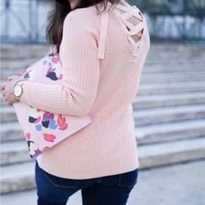 Banana Republic pink lace up sweater